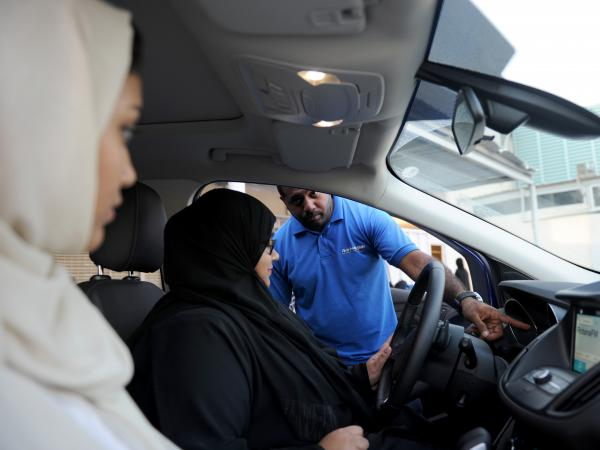 A Saudi woman has a driving lesson in Jeddah in March. Saudi Arabia's decision in September 2017 to allow women to drive from June came after decades of resistance from activists, many of whom were jailed for flouting the ban.