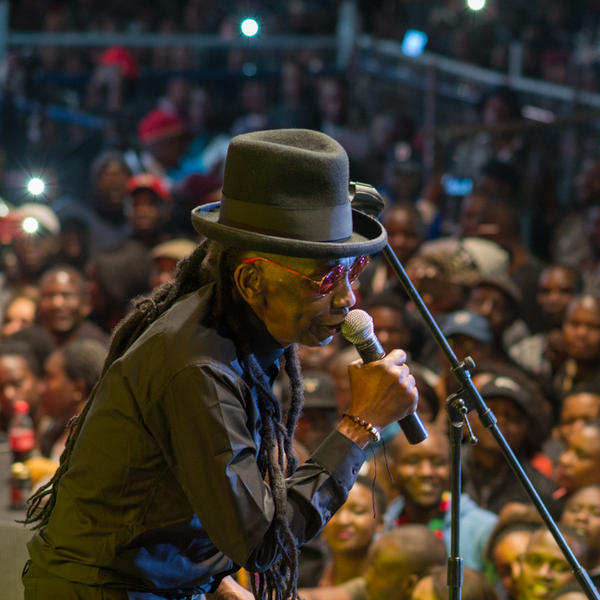 Thomas Mapfumo performing in Harare, Zimbabwe for the first time since 2004 on April 28, 2018.