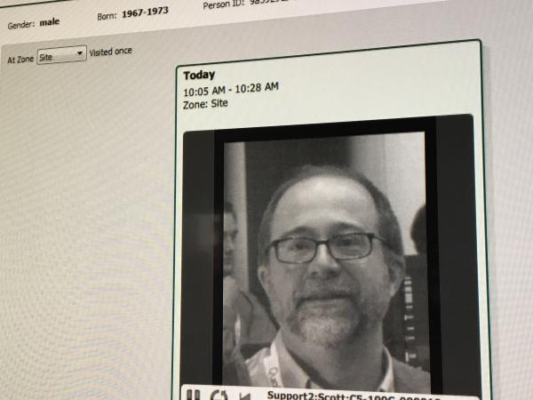 Real-time facial recognition has made huge iPhone leaps in accuracy in recent years. This image of NPR's Martin Kaste, is from a Cognitec demonstration at the Connect ID conference.