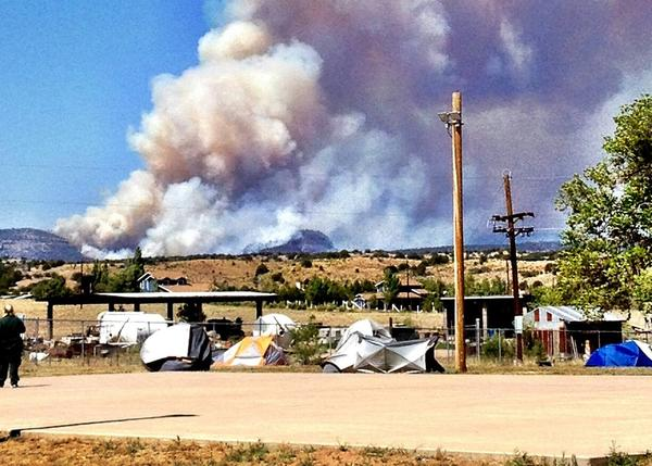 Firefighters camp near the site of the Poco Fire in Arizona in 2012. Makoto Moore, an incident meteorologist, camped with them.