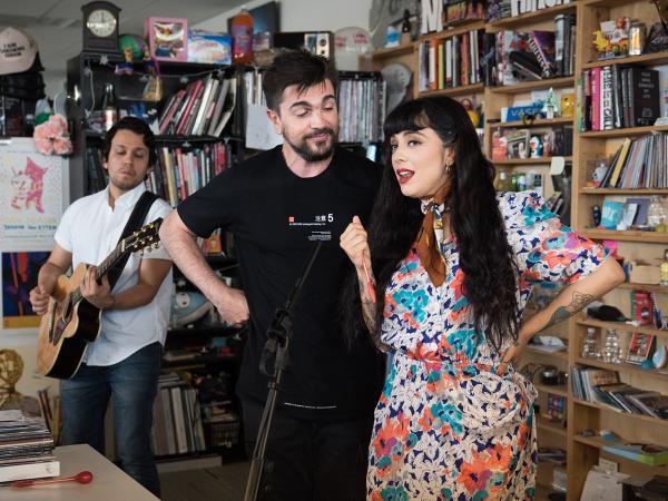Juanes and Mon Laferte perform a Tiny Desk Concert on April 25, 2018 (Claire Harbage/NPR).