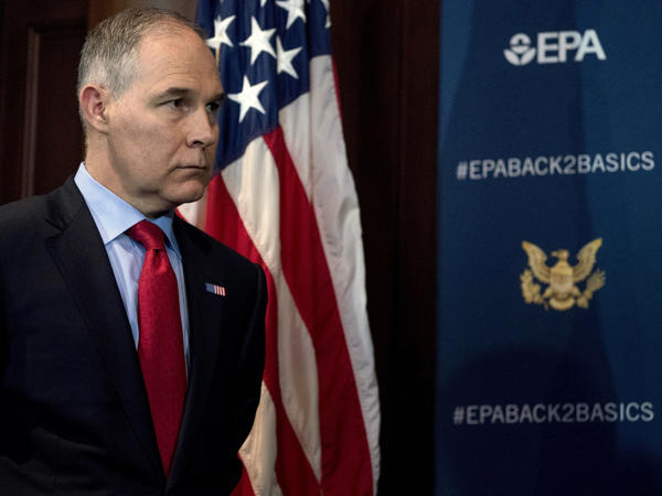 Environmental Protection Agency Administrator Scott Pruitt announcing his decision in April to scrap Obama administration fuel economy standards.