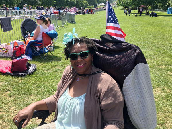 """Alison Noel flew in to London from Los Angeles and is spending Friday night sleeping in a lawn chair to catch a glimpse Saturday of Meghan Markle, whom she calls her """"L.A. Princess."""""""