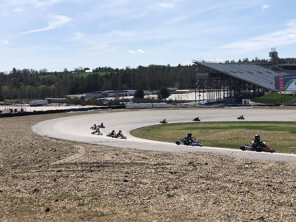 Go-kart drivers race around the track. The more well-known official races in the northeast generally take place in Canaan and Louden, N.H.