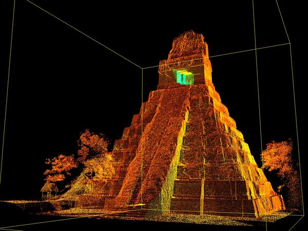 A 3D scan of a Tikal temple in Guatemala. It is among approximately 200 monuments around the world that have been scanned by CyArk.