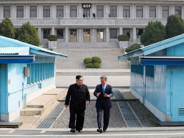 Denuclearization was discussed in April at the inter-Korean summit between North Korean leader Kim Jong Un (left) and South Korean President Moon Jae-in.