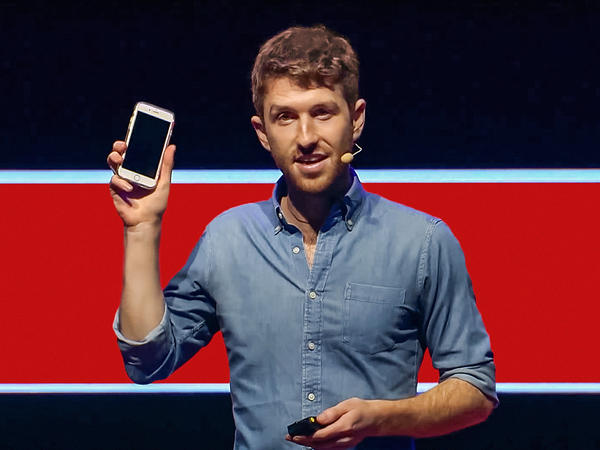 Tristan Harris on the TED stage.