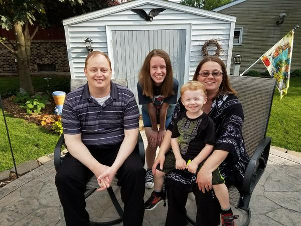 Michelle Weber (right) of Peru, Illinois, alongside (from left) her husband Chad, daughter Hailey, and son Jaxon. The Webers all have a type of kidney disease, but Michelle is the first in the family to need a kidney transplant.