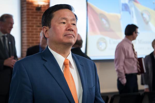 University of Missouri System President Mun Choi during a visit to the University of Missouri-St. Louis on April 18, 2017.