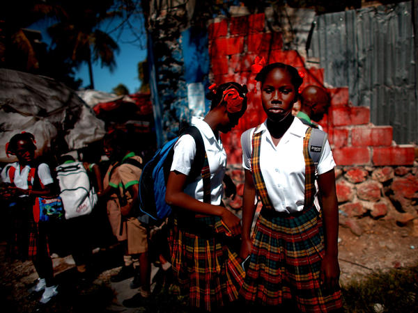 This 2013 photo of schoolgirls in Haiti shows the slow progress in recovering from the 2010 earthquake.