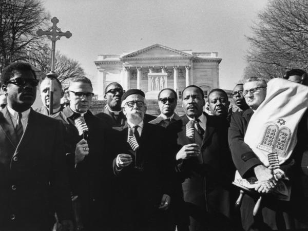 From left Bishop James Shannon, Rabbi Abraham Heschel, Dr. Martin Luther King and Rabbi Maurice Eisendrath. Tomb of the Unknown Soldier, Arlington Cemetery, February 6, 1968.