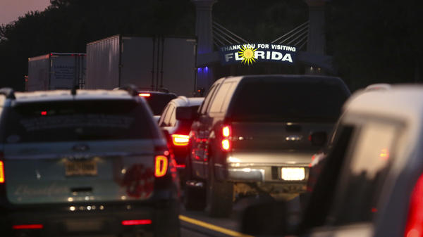 Traffic backed up on Interstate 75 in Jennings, Fla., near the Florida/Georgia state line as people fled Hurricane Irma on Sept. 8, 2017.