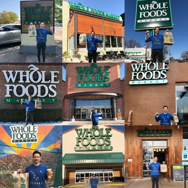 Audio engineer Morgan Travis enjoying his consistent visits to Whole Foods locations on tour.