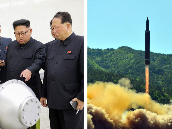 North Korean leader Kim Jong Un, left, inspects what the North claims is a thermonuclear warhead. At right is a test of a North Korean ballistic missile.