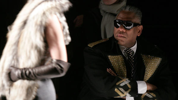 "André Leon Talley remembers paging through <em>Vogue</em> for the first time as a child — it was like falling down a ""rabbit hole"" into ""a world of glamour,"" he says. Talley is the subject of a new documentary called <em>The Gospel According to André. </em>He is shown above at the Carolina Herrera Fall 2007 fashion show."