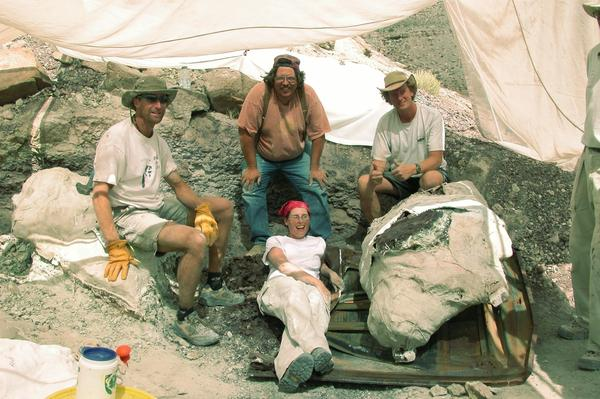 The team who unearthed Cifelliodon: (Left to Right) Don DeBlieux, Jim Kirkland, Andrew, R.C. Milner, in front Jennifer Cavin