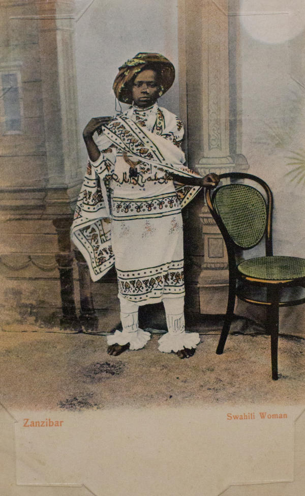 <em>Zanzibar, Swahili Woman</em> by Pereira de Lord. Photograph taken before 1900; postcard printed between 1907 and 1910.