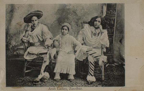 <em>Arab Ladies, Zanzibar</em> by A.C. Gomes & Son. Photograph taken before 1900; postcard printed 1910.