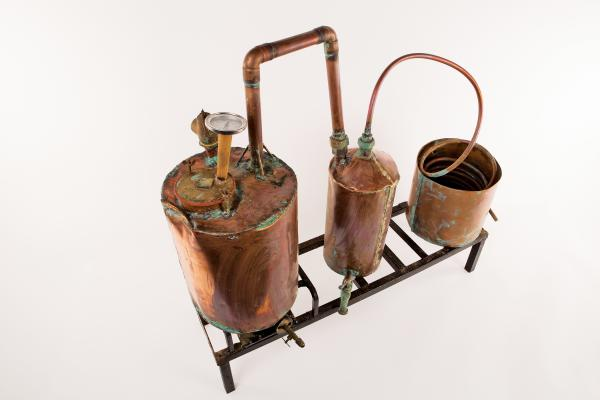 A copper still used by Will D. Campbell and Tom T. Hall to make whiskey.