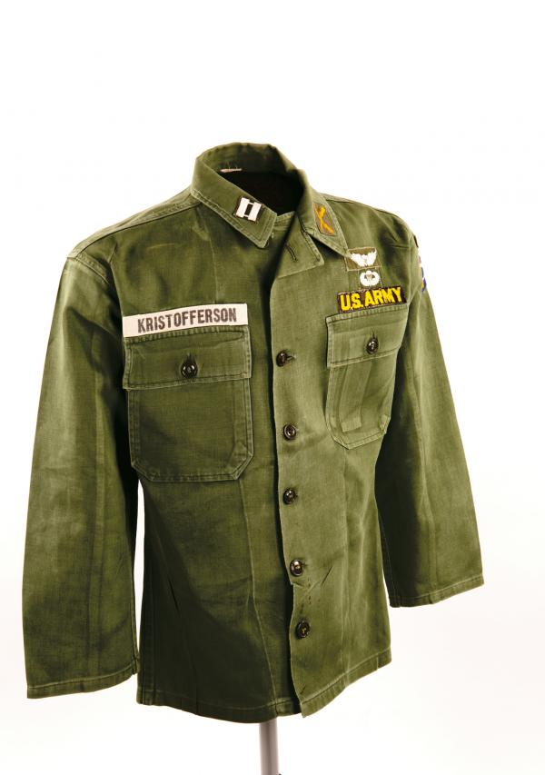 Shirt worn by Kris Kristofferson when he was an Army captain and Airborne Ranger. Kristofferson resigned his commission in 1965 to move to Nashville.