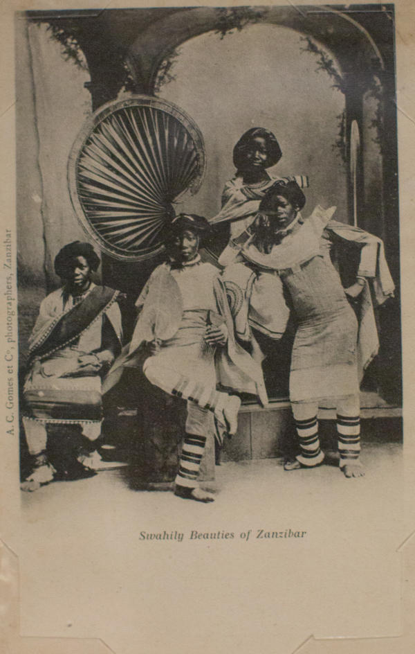 <em>Swahily Beauties of Zanzibar</em> by A.C. Gomes & Co. Photograph taken before 1900; postcard printed circa 1903-1904.