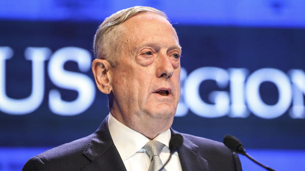 U.S. Defense Secretary Jim Mattis delivers his speech during the first plenary session of the 17th International Institute for Strategic Studies (IISS) Shangri-la Dialogue, an annual defense and security forum in Asia, in Singapore, Saturday, June 2, 2018, in Singapore. (AP Photo/Yong Teck Lim)