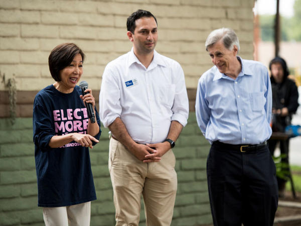Democrats running for the California 39th Congressional district, from left, Mai Khanh Tran, Sam Jammal and Andy Thorburn, speak to voters during a rally held by Swing Left at Carolyn Rosa Park in Rowland Heights, Calif., on May 19.