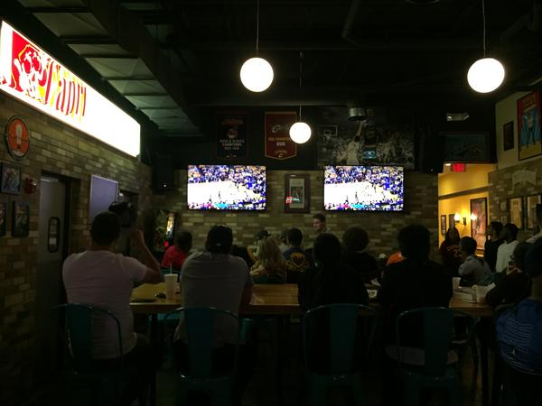 During the first three quarters of game two, fans were glued to the screens at Mr. Zub's in Highland Square. After that, as Golden State widened its lead, fans lost interest and drifted away.