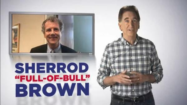 Screenshot from Jim Renacci's first ad, responding to Sherrod Brown's earlier ad