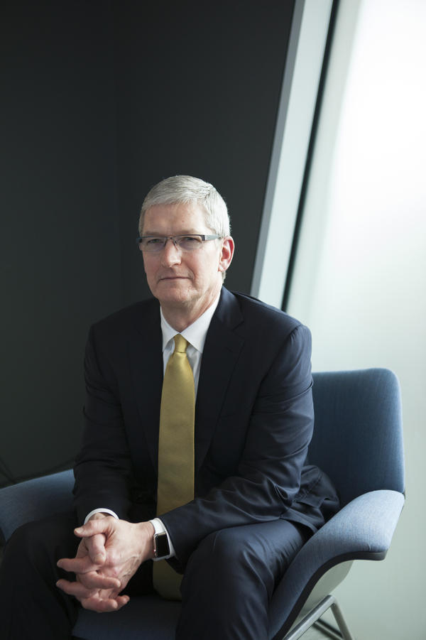 Tim Cook visited the NPR offices in Washington, D.C., in 2015. On Monday, he spoke with NPR about Apple users' privacy and the importance of trade to global relationships.