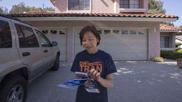 Dr. Mai Khanh Tran, a Democrat seeking election to the U.S. House of Representatives to represent the 39th Congressional District of California, canvasses last weekend in Rowland Heights, Calif. The predominantly Asian-American community lies in historically conservative Orange County.
