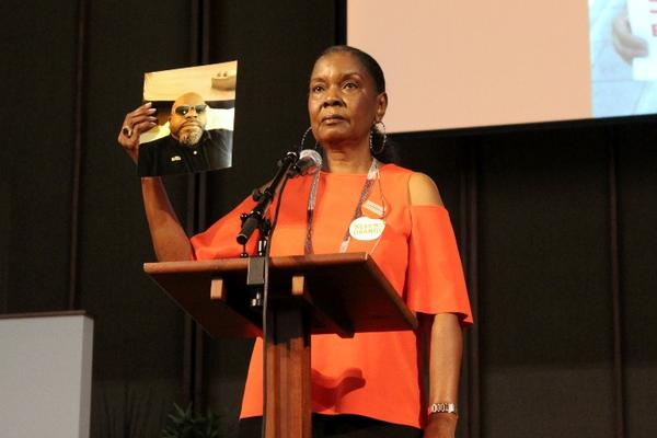 Delores Collins honored her son Jermaine Crumpton for Gun Violence Prevention Day and Wear Orange Weekend.