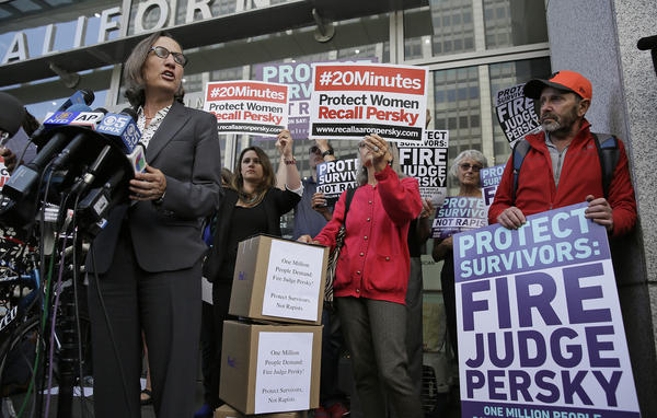 Stanford law professor Michele Dauber speaks at a rally in 2016, before activists delivered over 1 million signatures to the California Commission on Judicial Performance calling for Persky's removal.