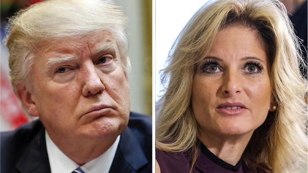 Summer Zervos, right, a former contestant on <em>The Apprentice,</em> accused President Trump of sexual harassment and has filed a defamation lawsuit against him. Her attorneys want to question Trump under oath.