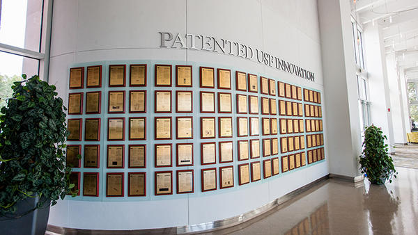 Some of the hundreds of the U.S. patents received by USF inventors are on display in Tampa. USF finished 5th among U.S. public universities in generating new patents in 2017.