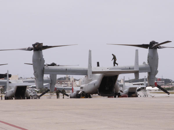 MV-22 Ospreys are seen at Marine Corps Air Station Futenma in Ginowan, Okinawa, in 2014.