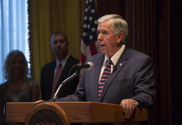 Missouri Gov. Mike Parson delivers remarks after being sworn in on Friday.