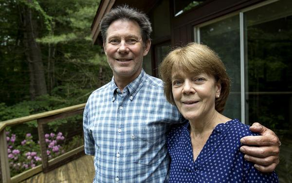 Bea and Doug Duncan at their home in Natick. (Robin Lubbock/WBUR)