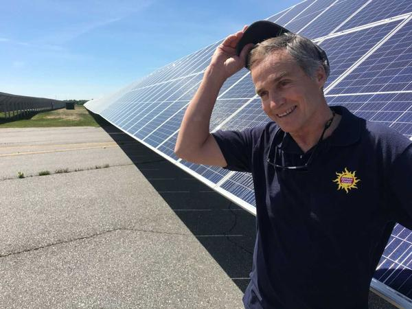 Steve Hinchman of ReVision Energy at the 1.5 megawatt solar plant the company installed at Brunswick Landing.