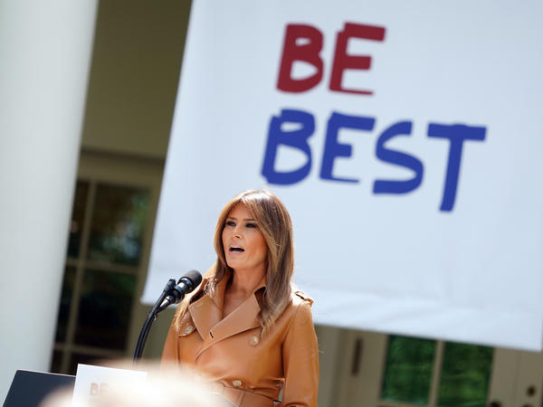 "First lady Melania Trump speaks about her ""Be Best"" initiative in the Rose Garden of the White House on May 7."