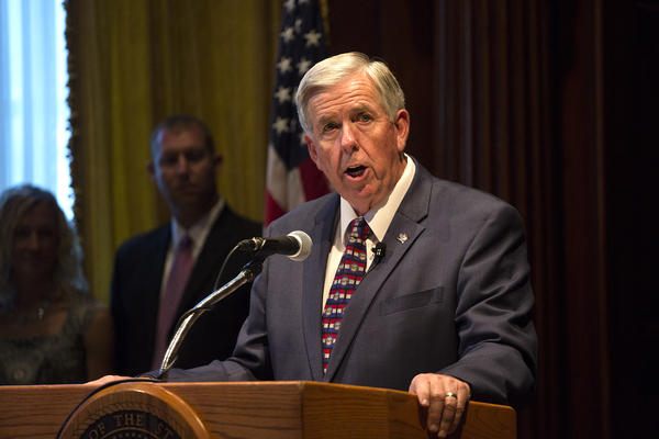 Missouri Gov. Mike Parson speaks after being sworn into office. June 2018