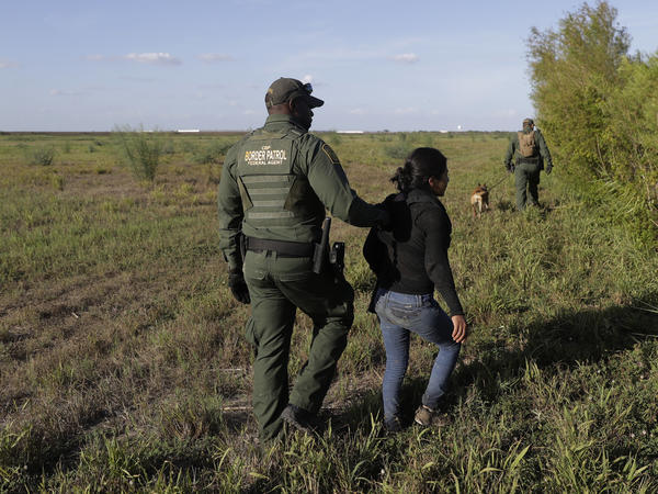 A U.S. Customs and Border Patrol agent escorts an immigrant suspected of crossing into the United States illegally along the Rio Grande near Granjeno, Texas.