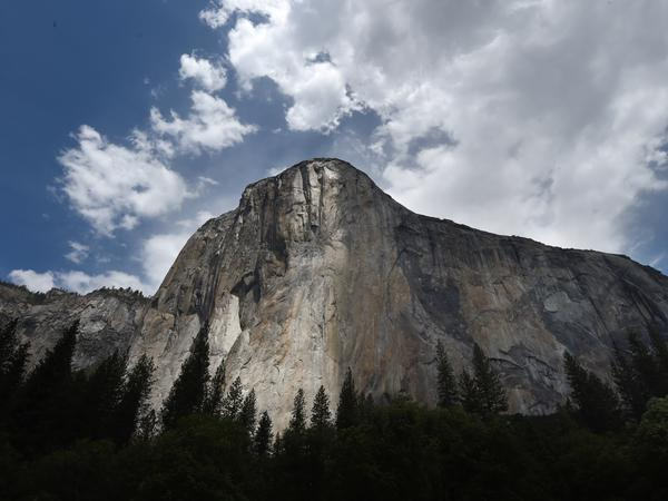 "The El Capitan monolith in California's Yosemite National Park, seen in June 2015. On Wednesday, climbers Alex Honnold and Tommy Caldwell managed a feat in under two hours that most climbers take days to achieve — scaling the famous ""Nose"" route up the rock."