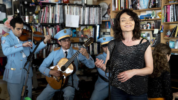 <em>The Band's Visit</em> star Katrina Lenk performs at NPR's Tiny Desk on May 15, 2018.