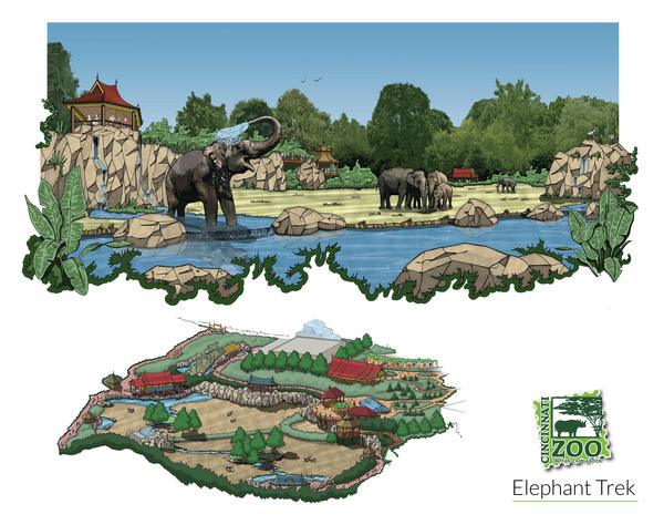 Artist rendering of new elephant yard.