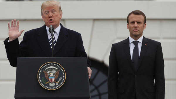 President Trump and French President Emmanuel Macron participate in a state arrival ceremony at the South Lawn of the White House on April 24.