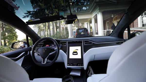 The interior of a Tesla Model X 75D semi-autonomous electric vehicle is shown in January 2017. The company's autopilot system has been engaged at the time of a number of accidents, including a crash that killed the driver in California in March, but the company emphasizes the system can't be relied on to prevent collisions.