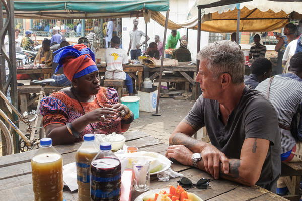 In 2016, NPR correspondent Ofeibea Quist-Arcton shared breakfast with Anthony Bourdain at Marché Kermel in Dakar, Senegal.