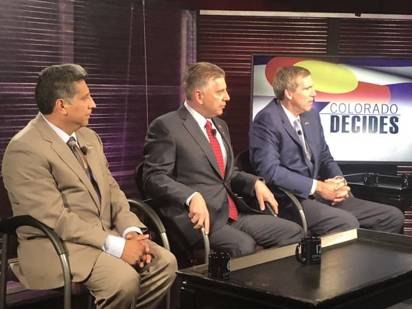 Republican candidates for governor sit down for a debate on Colorado Public Television, June 6.