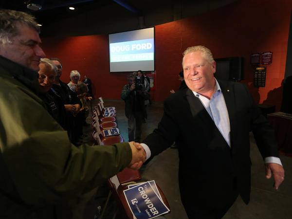 Progressive Conservative Leader Doug Ford campaigns in Northern Ontario last April. He has been elected premier of Ontario.